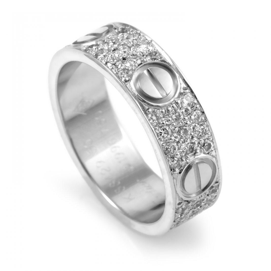 Cartier 18K White Gold Full Diamond Band Ring