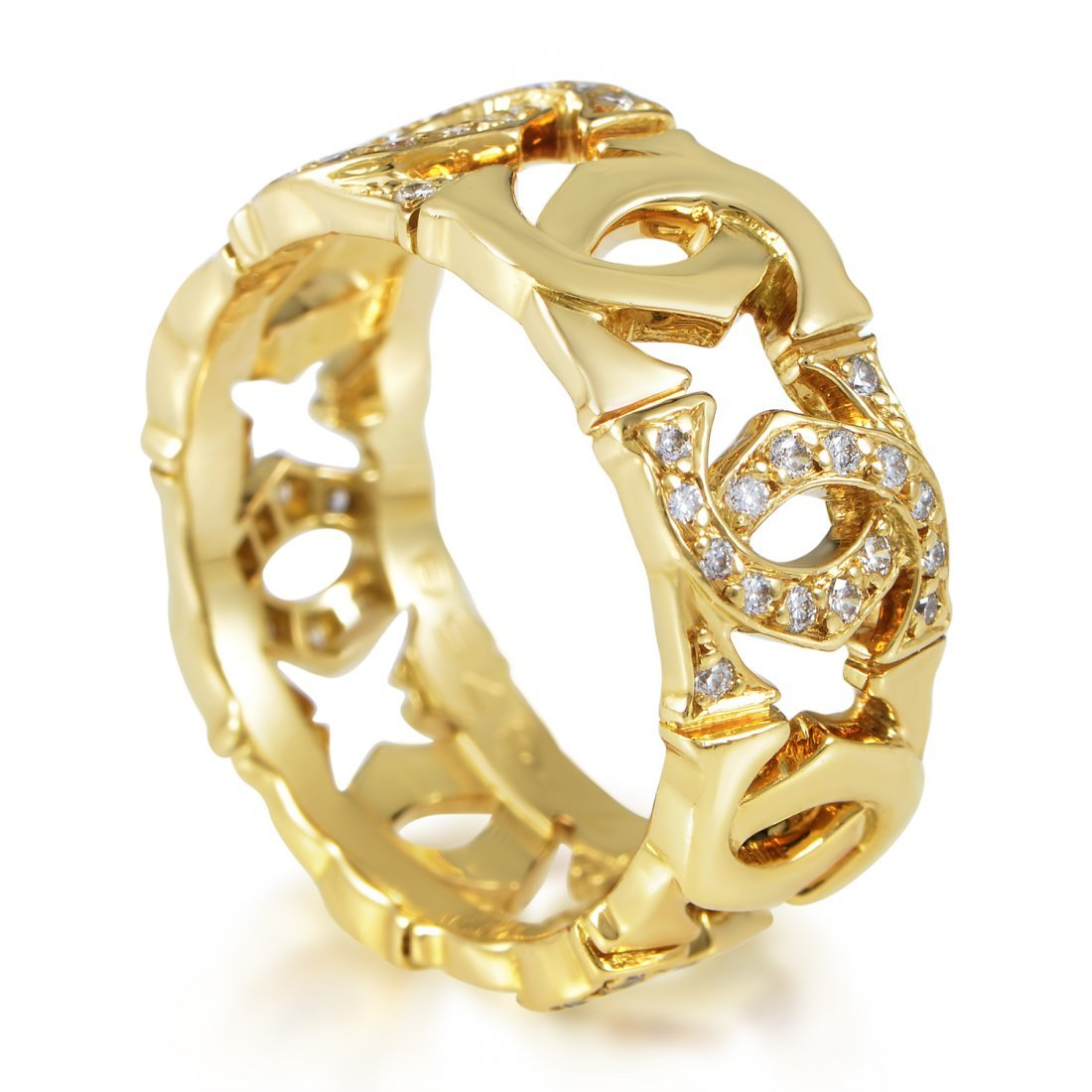 Cartier C de Cartier 18K Yellow Gold Diamond Band Ring