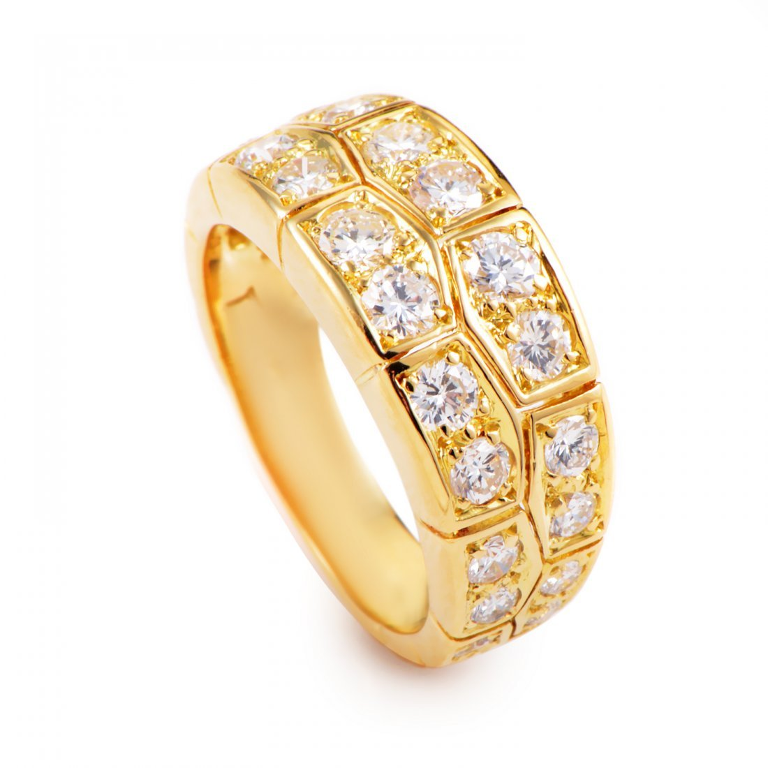 Van Cleef & Arpels Tiled 18K Yellow Gold Diamond Band
