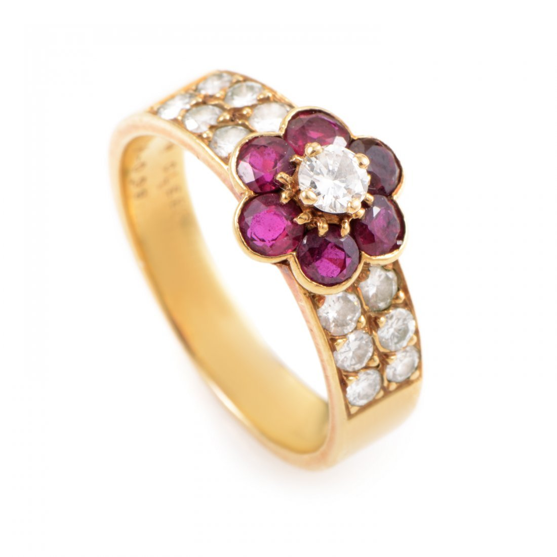 Van Cleef & Arpels 18K Yellow Gold Diamond & Ruby