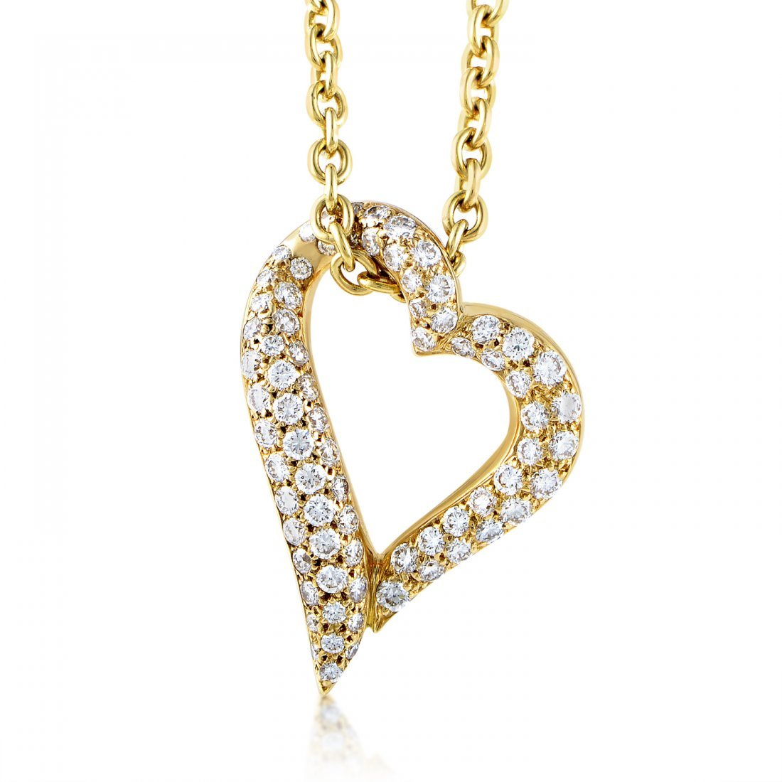 Boucheron 18K Yellow Gold Diamond Heart Pendant