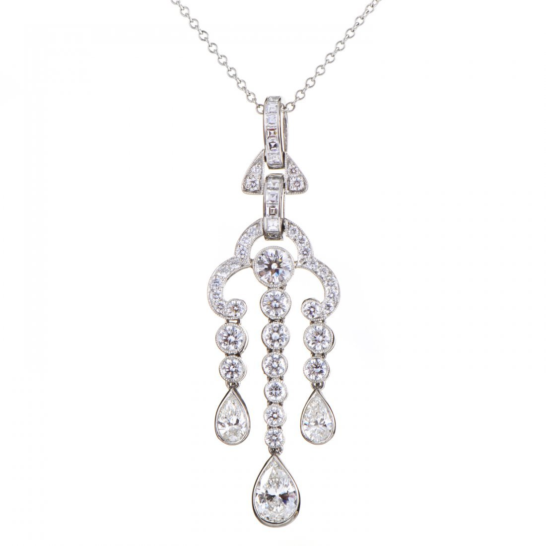 Tiffany & Co. Platinum Diamond Pendant Necklace