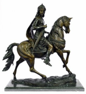Prince Sitting On Horse Bronze Sculpture On Marble Base