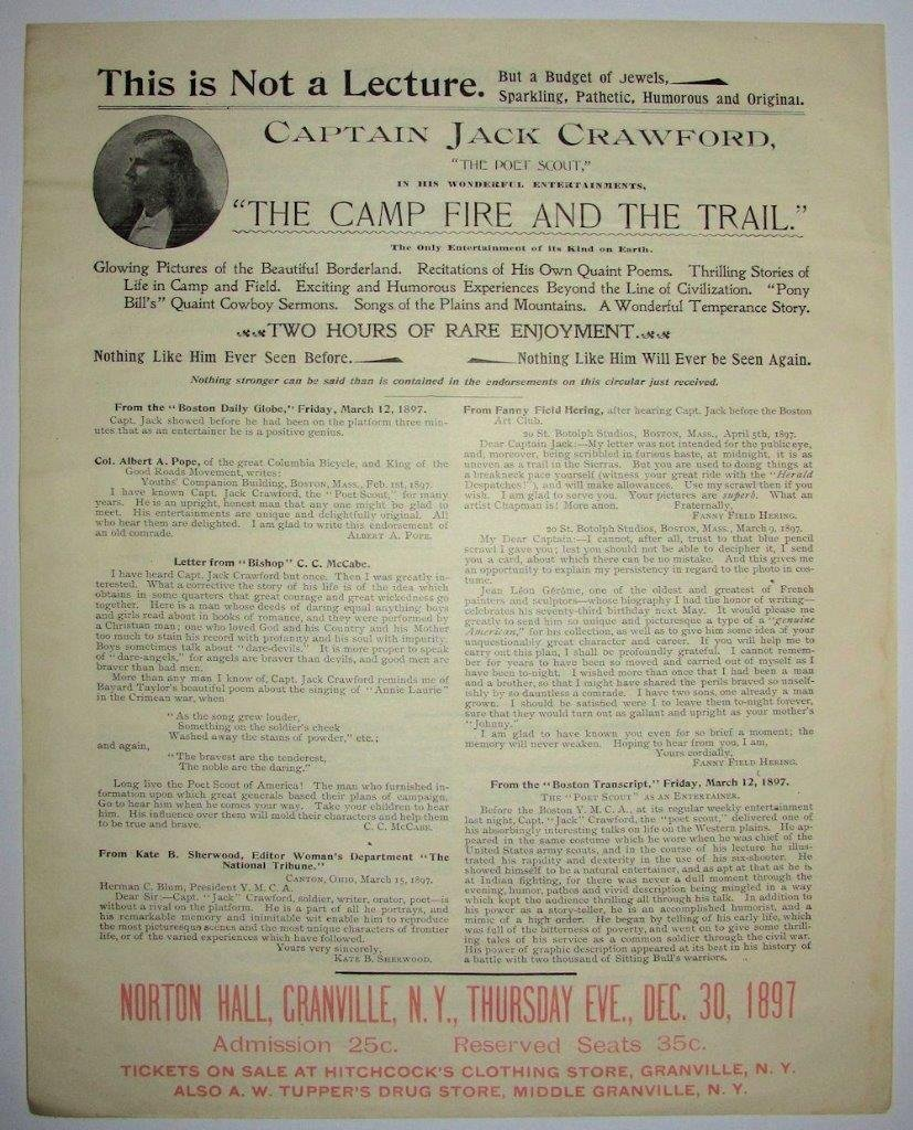 1897 Broadside, Wild West Scout Captain Jack Crawford