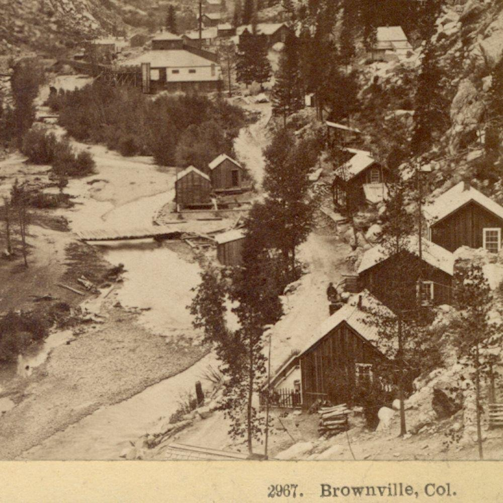 c.1880 Early Birds Eye View Mining Town, Brownsville