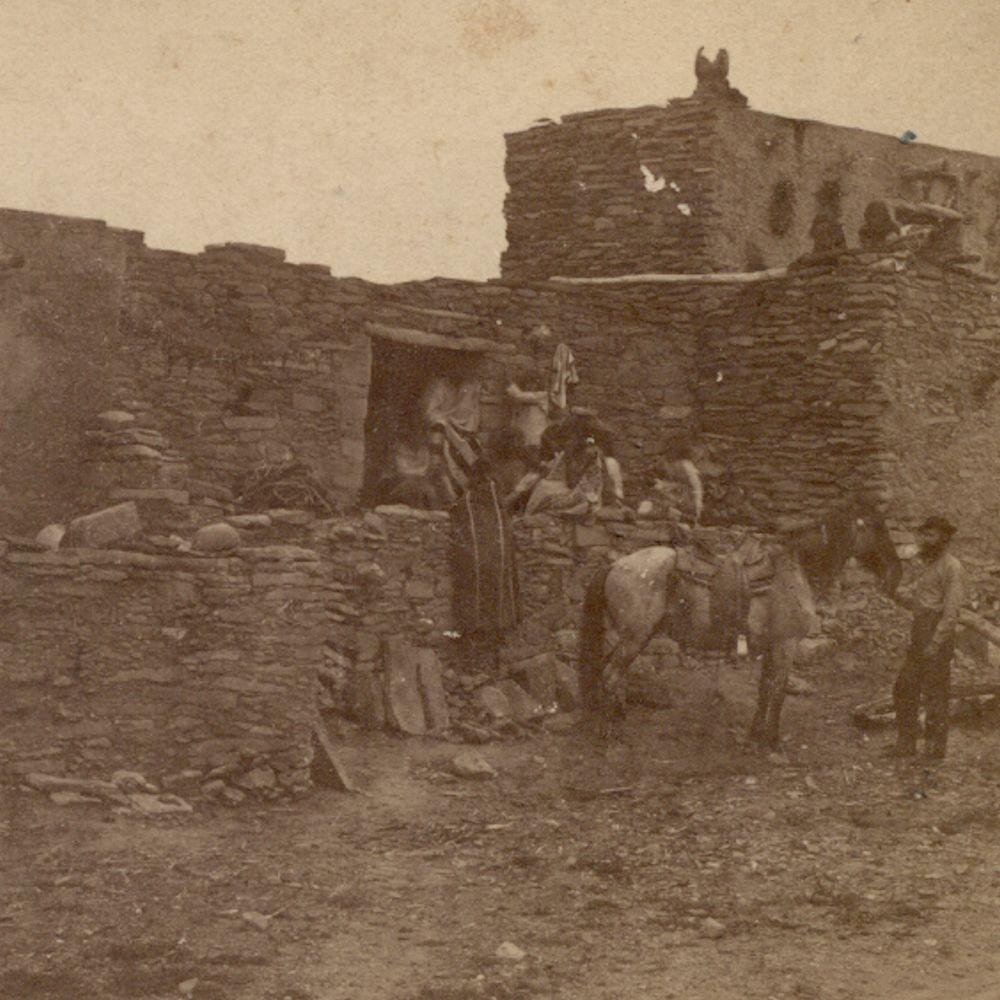 c.1880 Native American Indian Stone Adobe At Oribay