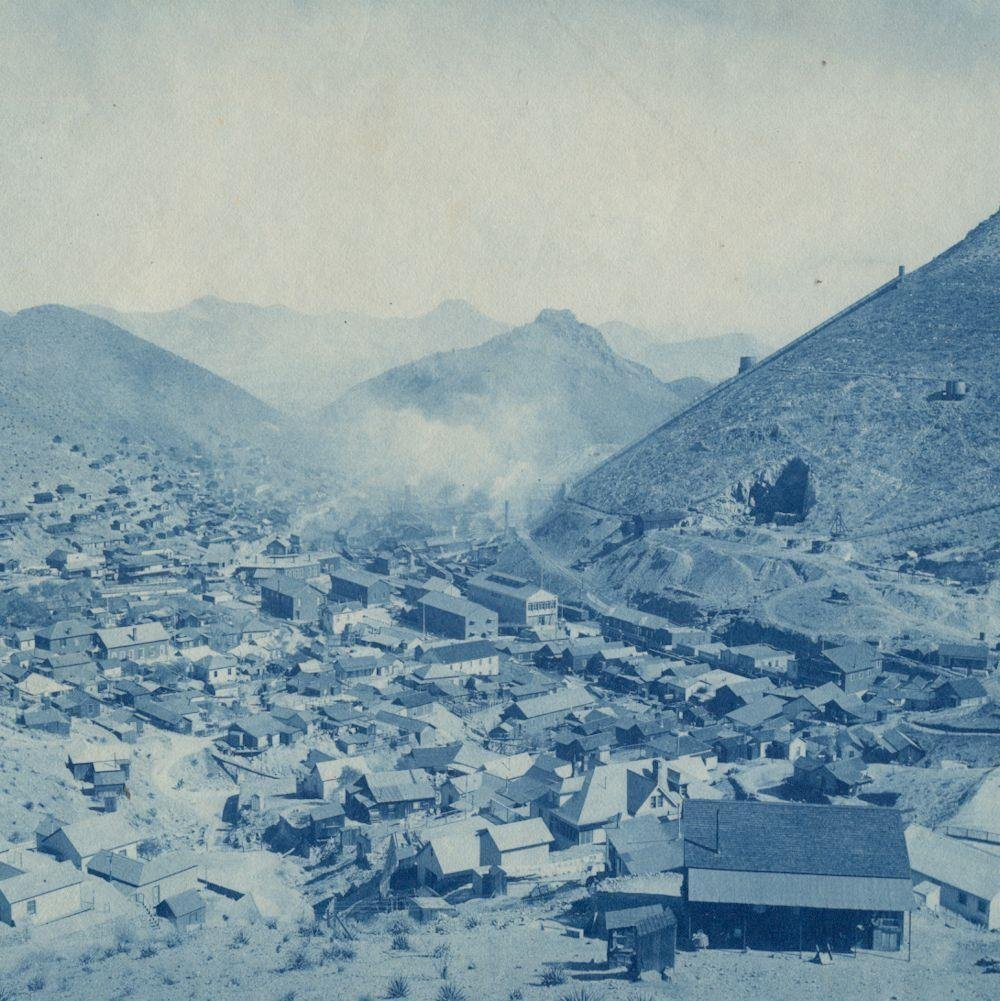 1903 Big Cyanotype Birds Eye View Photo, Bisbee Arizona