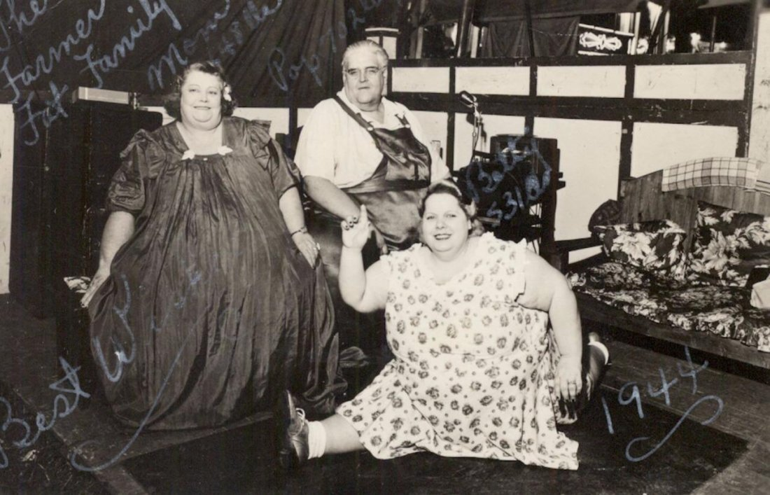 1944 RPPC Circus Freak Obese Sideshow People