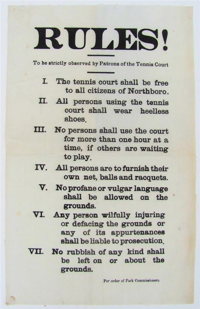 c.1900 Vintage Tennis Court Rules, Cloth Broadside