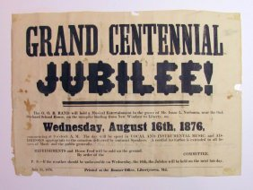 1876 Centennial Jubilee Advertisement Broadside Oak