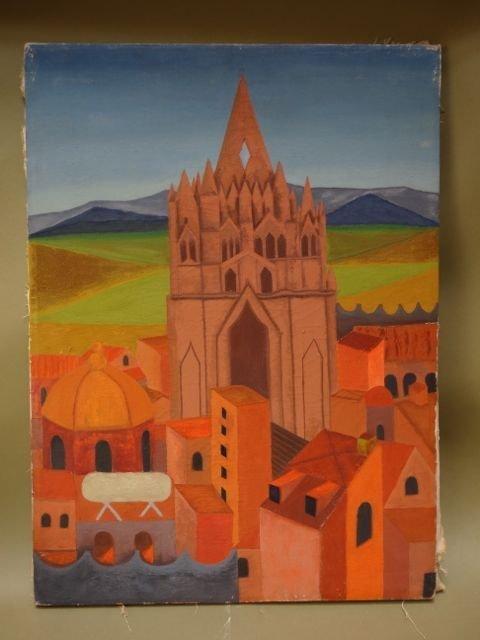 """Alfredo Perez, """"Mexican Church and Village"""""""