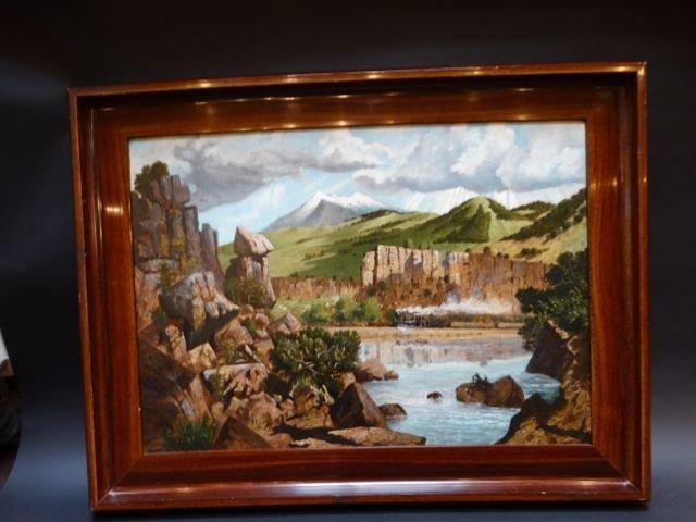 J. P. McMeekin: Snake River, Canyon Railroad, Oil on