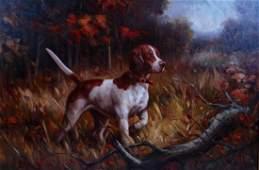 Original Oil on Canvas Painting: English Pointer Bird