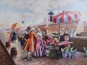 Original Oil On Canvas Large French Street Market
