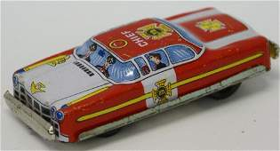 Vintage Tin Litho Friction FIRE CHIEF Penny Toy Car by