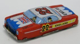 Vintage Tin Friction England Race Car 395hp Penny Toy