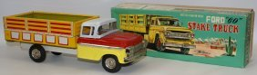 """Vintage Tin Friction Ford """"60"""" Stake Truck Toy Truck,"""