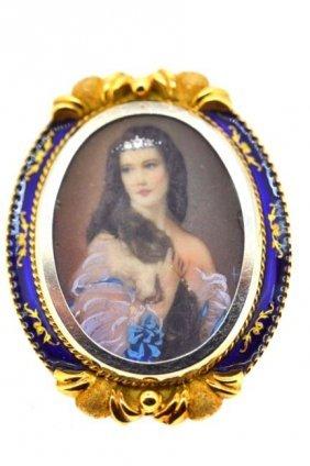 19th Century 18k Gold, Blue Enamel & Diamond Pin