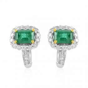 18k Gold Emerald & Diamond Earrings, 3.2 Ctw