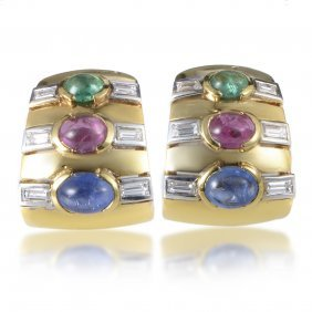 18k Gold And Gemstone Clip-on Earrings, 6.8 Ctw
