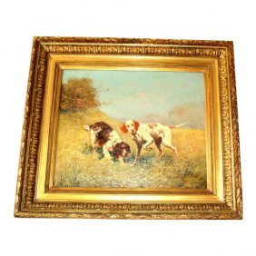 Oil On Canvas Two Hunting Dogs. Eugene Petit