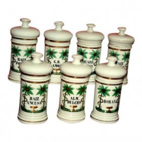 4 19th Century Apothecary Painted Jars