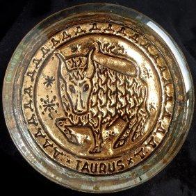Murano Taurus Gold Leaf Paperweight