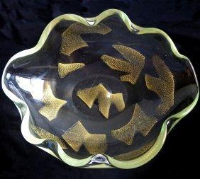 Seguso Murano Gold Flecks Centerpiece Bowl