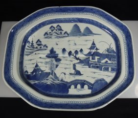 "19th Cent Chinese Blue & White Canton 17"" Meat Tray"