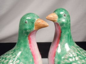 Pair Chinese Export Porcelain Pigeons