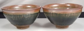 Pair Chinese Song Dynasty Hare's Fur Glazed Bowls