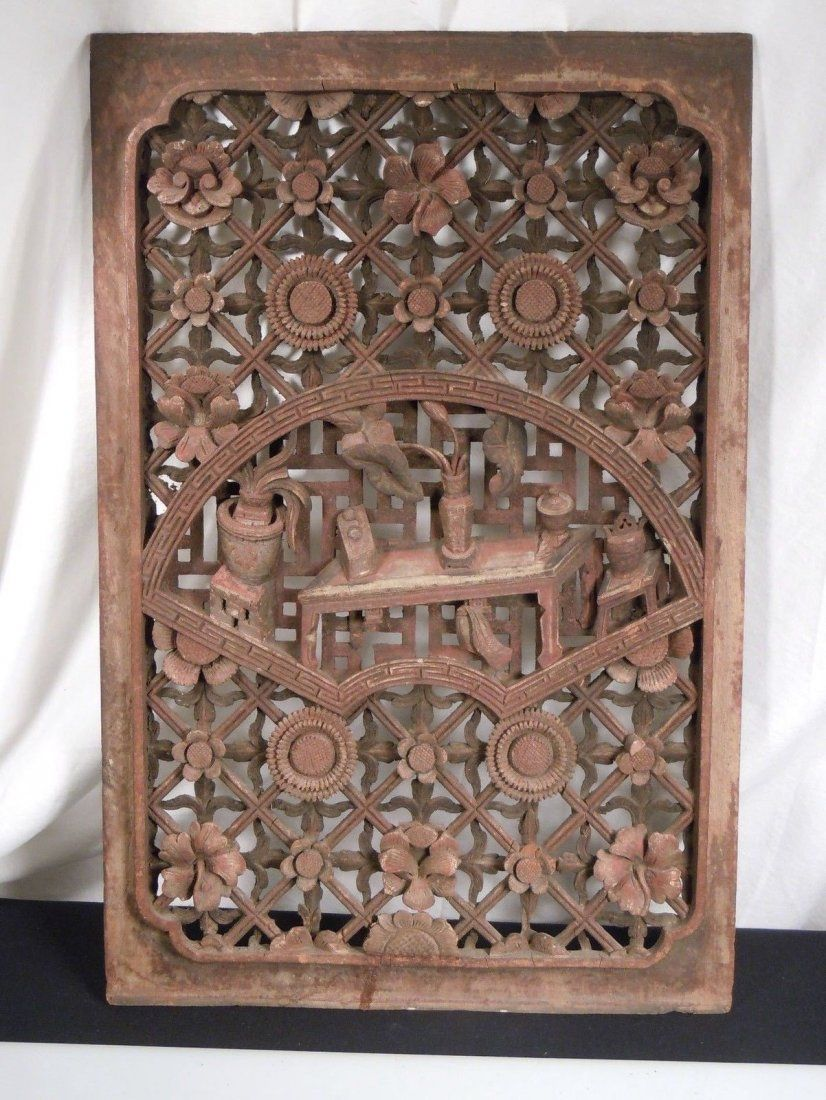 Antique Chinese Carved Wood Panel