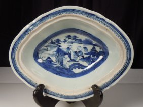 Antique Chinese Canton Blue & White Porcelain Oval Dish