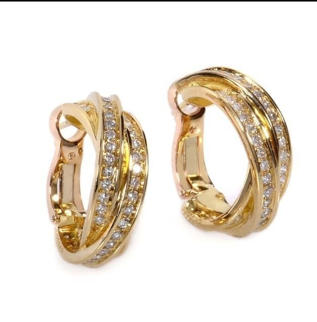Cartier: 18K Gold Diamond Hoop Earrings