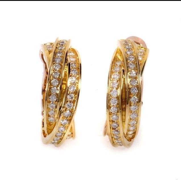 Cartier: 18K Gold Diamond Hoop Earrings - 2