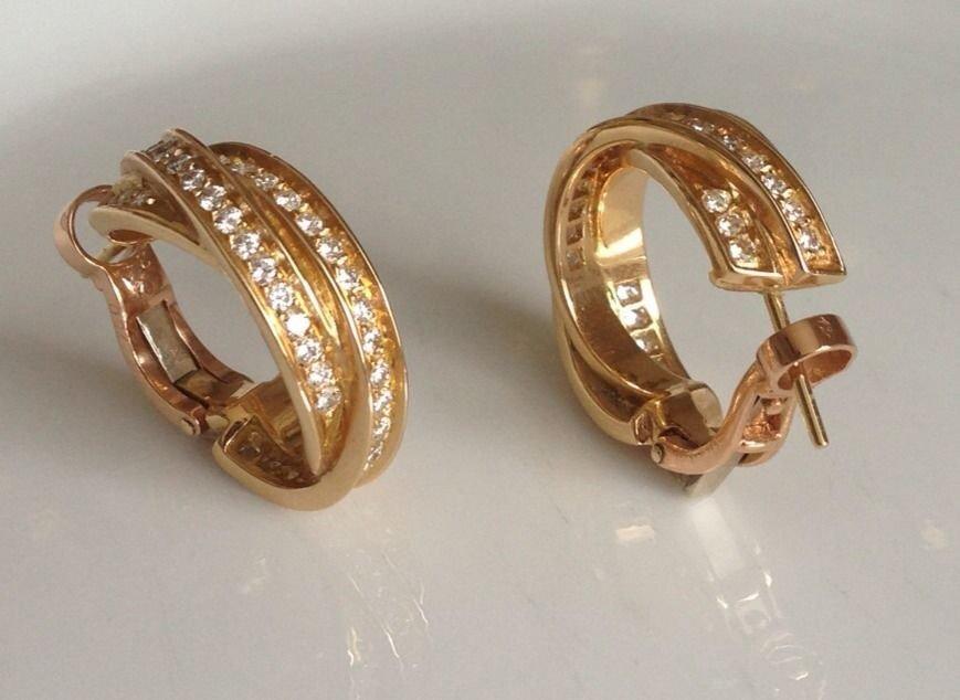 Cartier: 18K Gold Diamond Hoop Earrings - 3