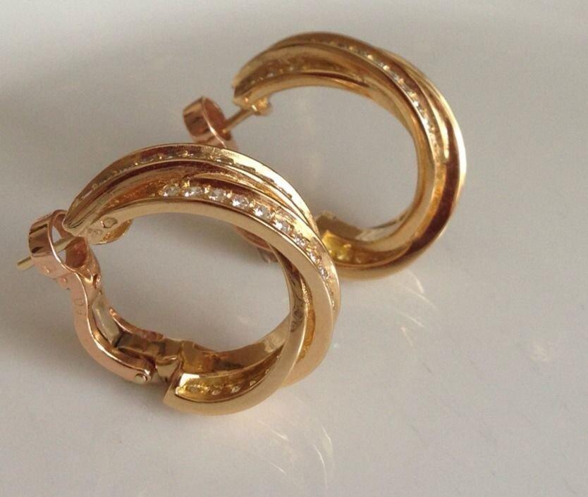Cartier: 18K Gold Diamond Hoop Earrings - 4