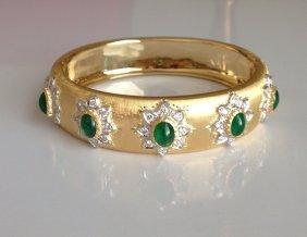 Mario Buccellati 18k Yellow Gold Emerald Diamond Bangle