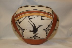 Zia Pottery : Beautiful Zia Four Color Pottery Olla By