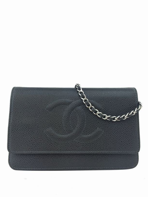 Chanel: Leather Wallet on Chain, Charcoal Gray
