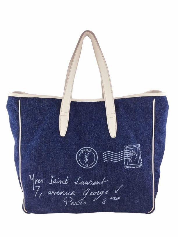 Yves Saint Laurent: Denim Y Mail Tote Bag, Blue