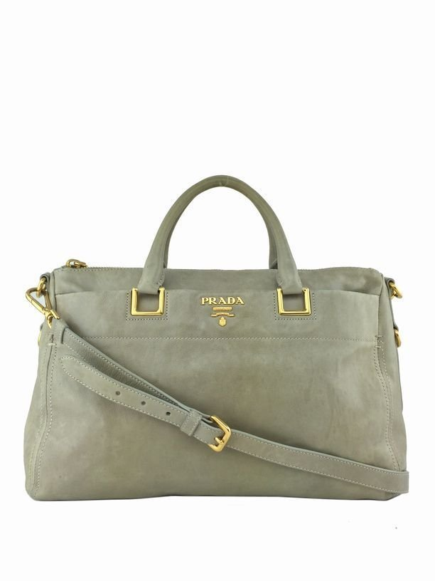 Prada: Vitello Leather Satchel, Beige