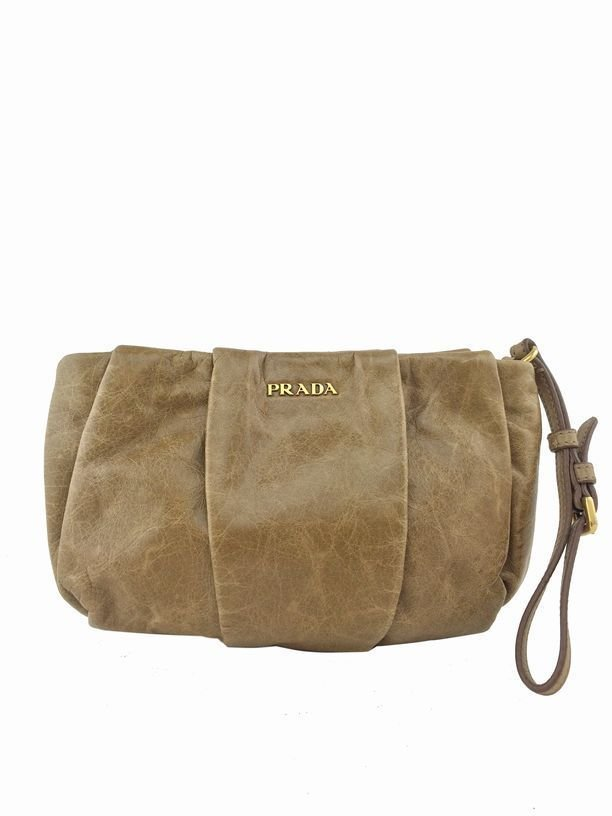 Prada: Vitello Pleated Leather Clutch, Camel