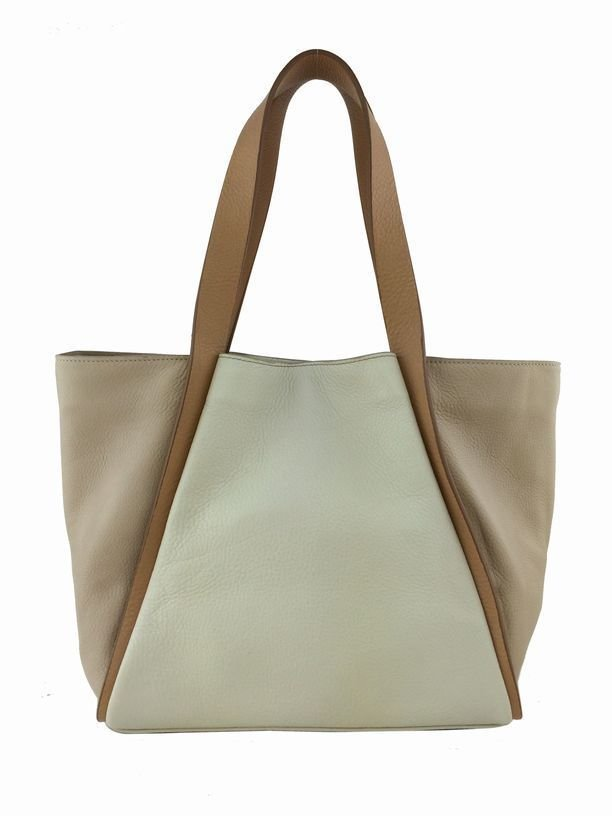 Akris Alex: Leather Tote Bag, White/Tan