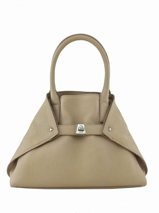 Akris Alex: Little Ai Convertible Leather Tote, Beige