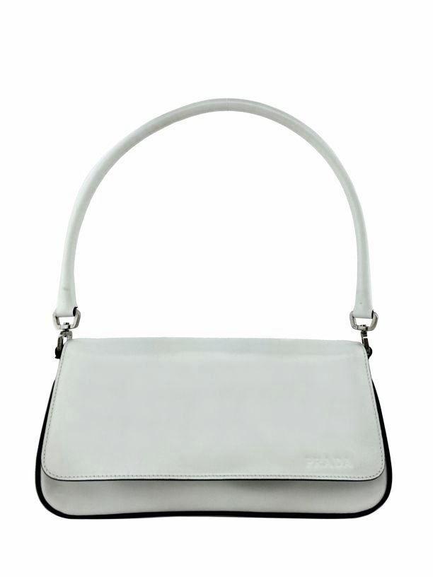 Prada: Leather Flap Satchel Bag, White