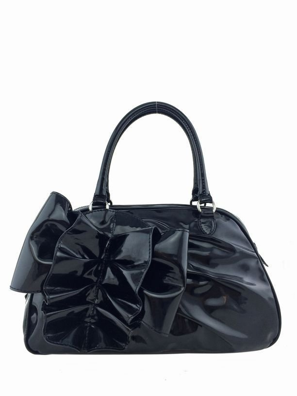 Valentino: Patent Lacca Leather Bow Bag, Black