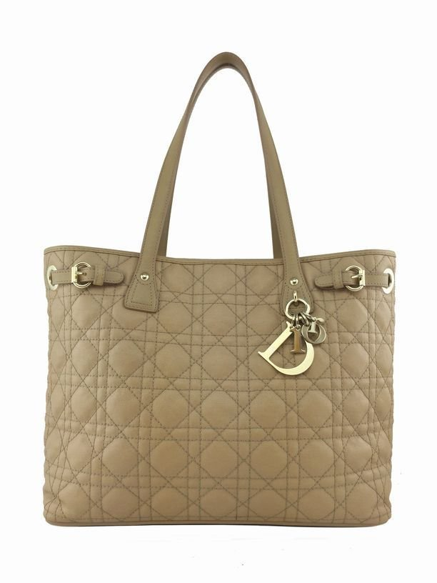 Dior: Cannage Quilted Coated Canvas Tote, Beige