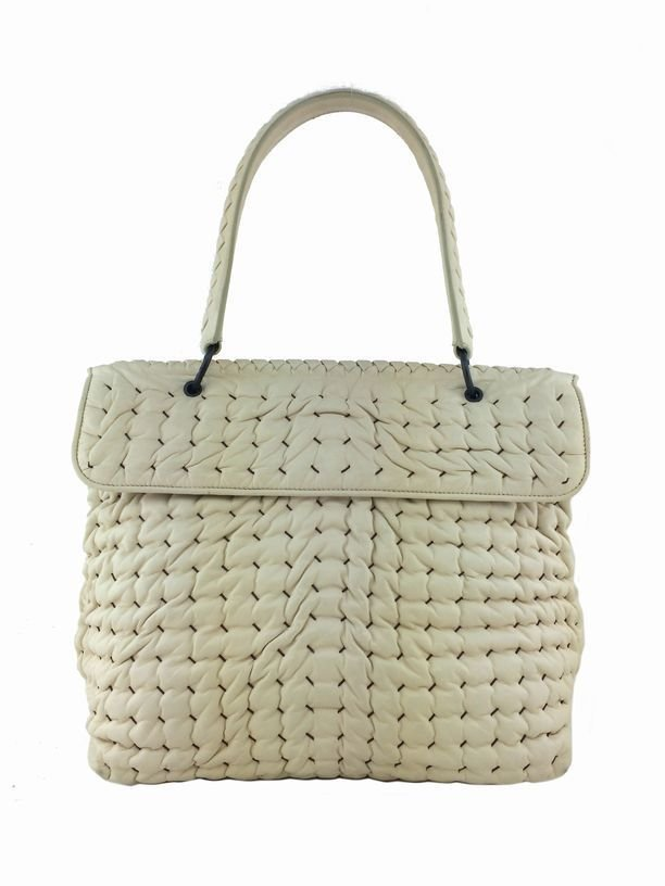 Bottega Veneta: Woven Bubble Leather Flap Satchel