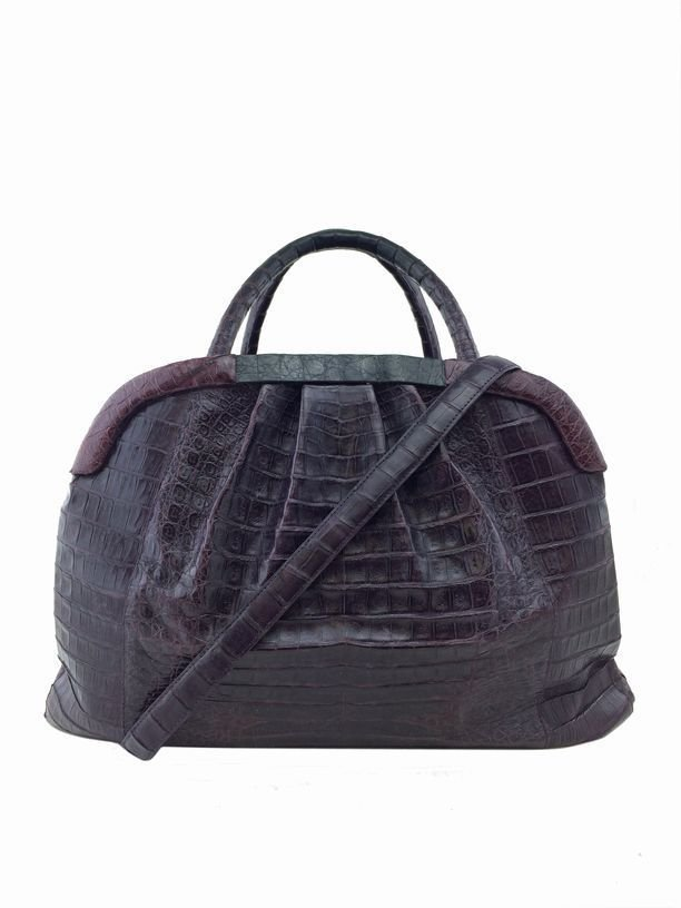Nancy Gonzalez: Crocodile Pleated Satchel, Purple